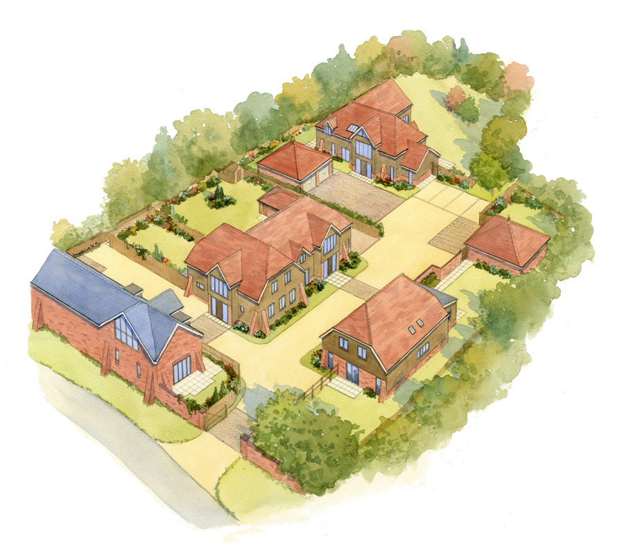 artists building impressions of rural houses hampshire